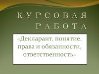 Декларант. понятие. права и обязанности, ответственность
