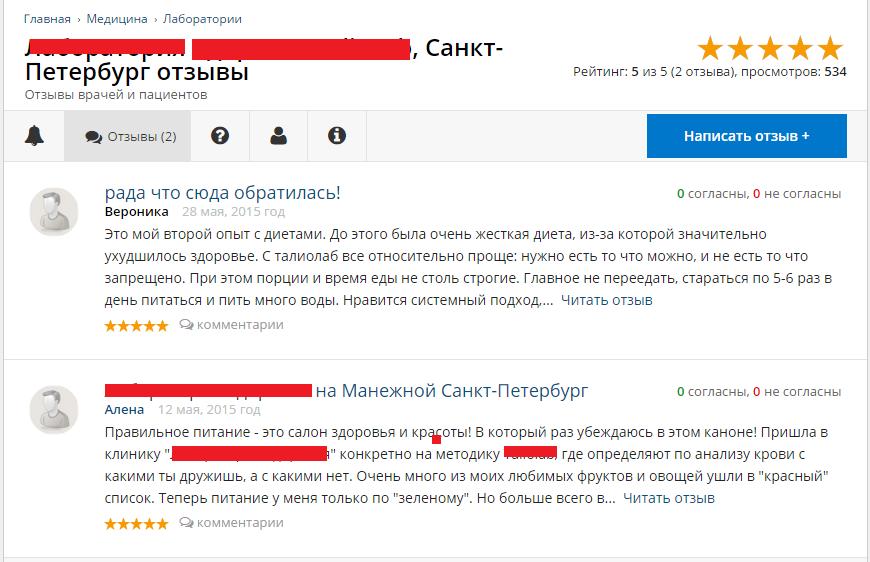 Скрытая реклама и пиар клиники диетологии в Санкт-Петербурге