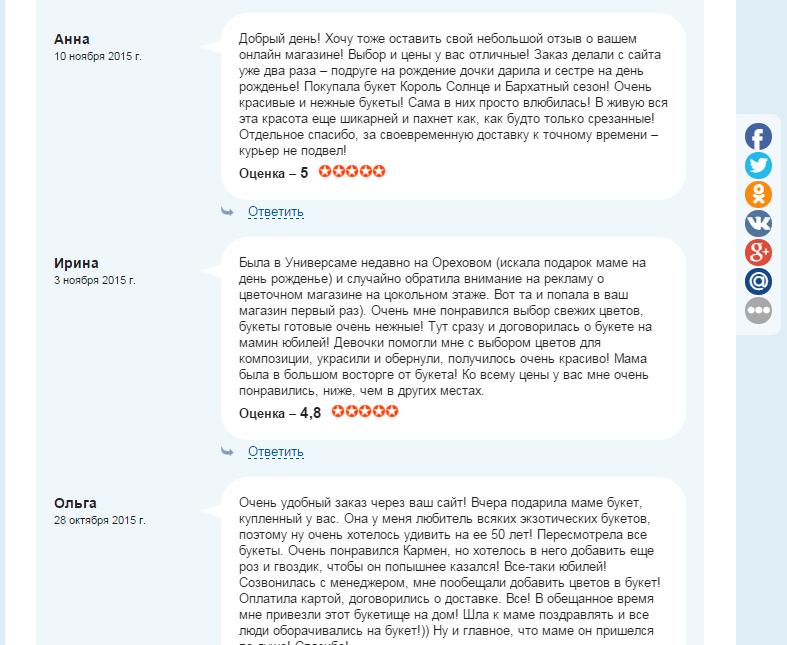 Управление репутации в сети интернет для цветочной сети в Москве