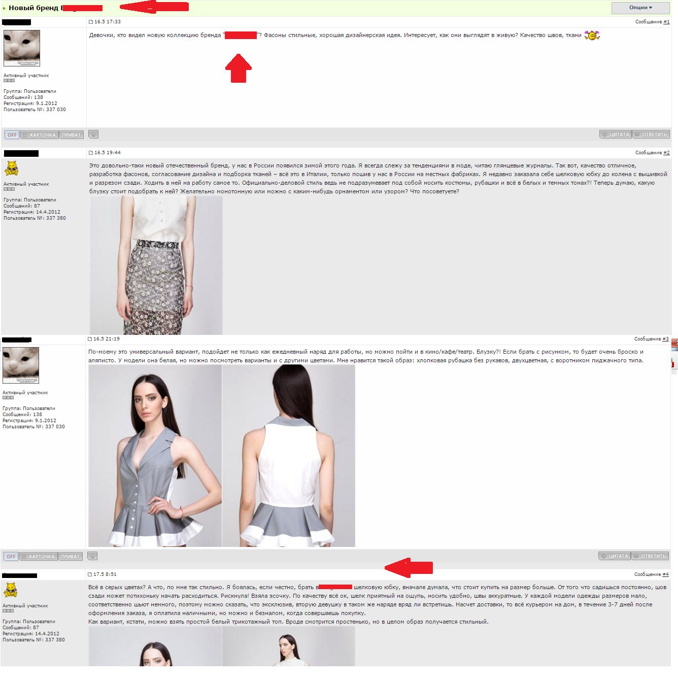 Создание имиджа в сети и проведение скрытой рекламы новому бренду женской одежды