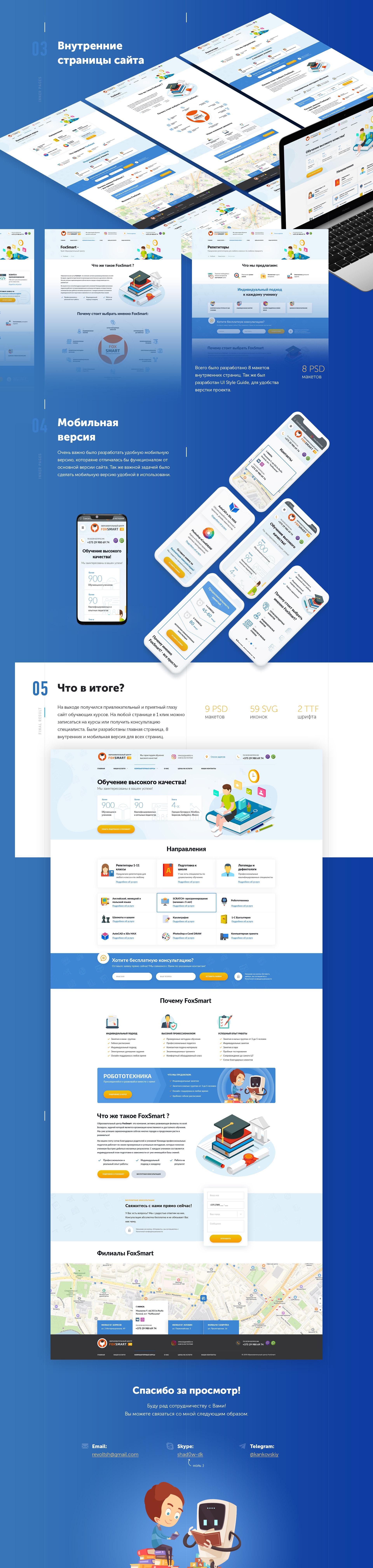 Дизайн для сайта образовательного центра FoxSmart