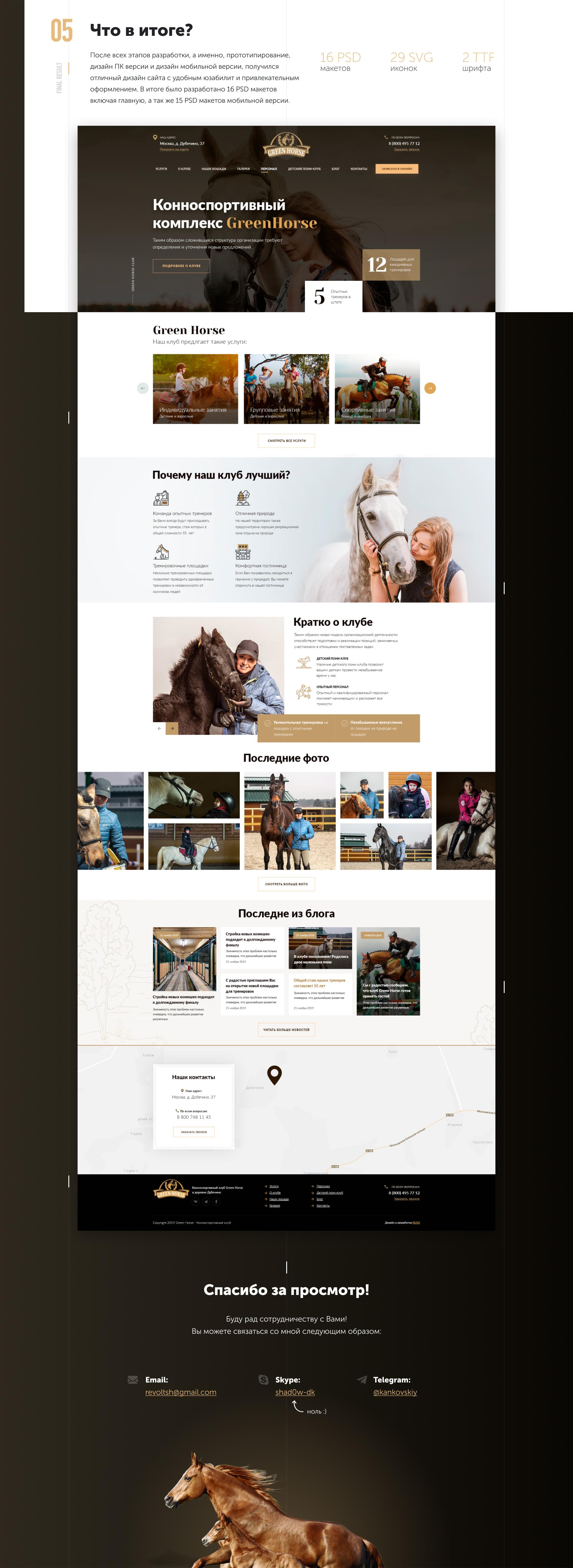 Дизайн для сайта конно-спортивного комплекса GreenHorse