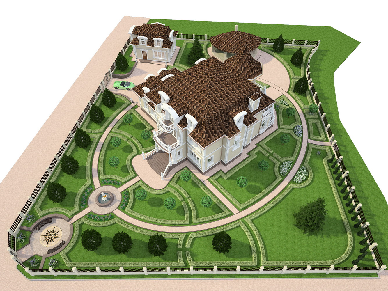 Проект благоустройства участка в соответсвии со стилистикой основного дома. 3Д визуализация