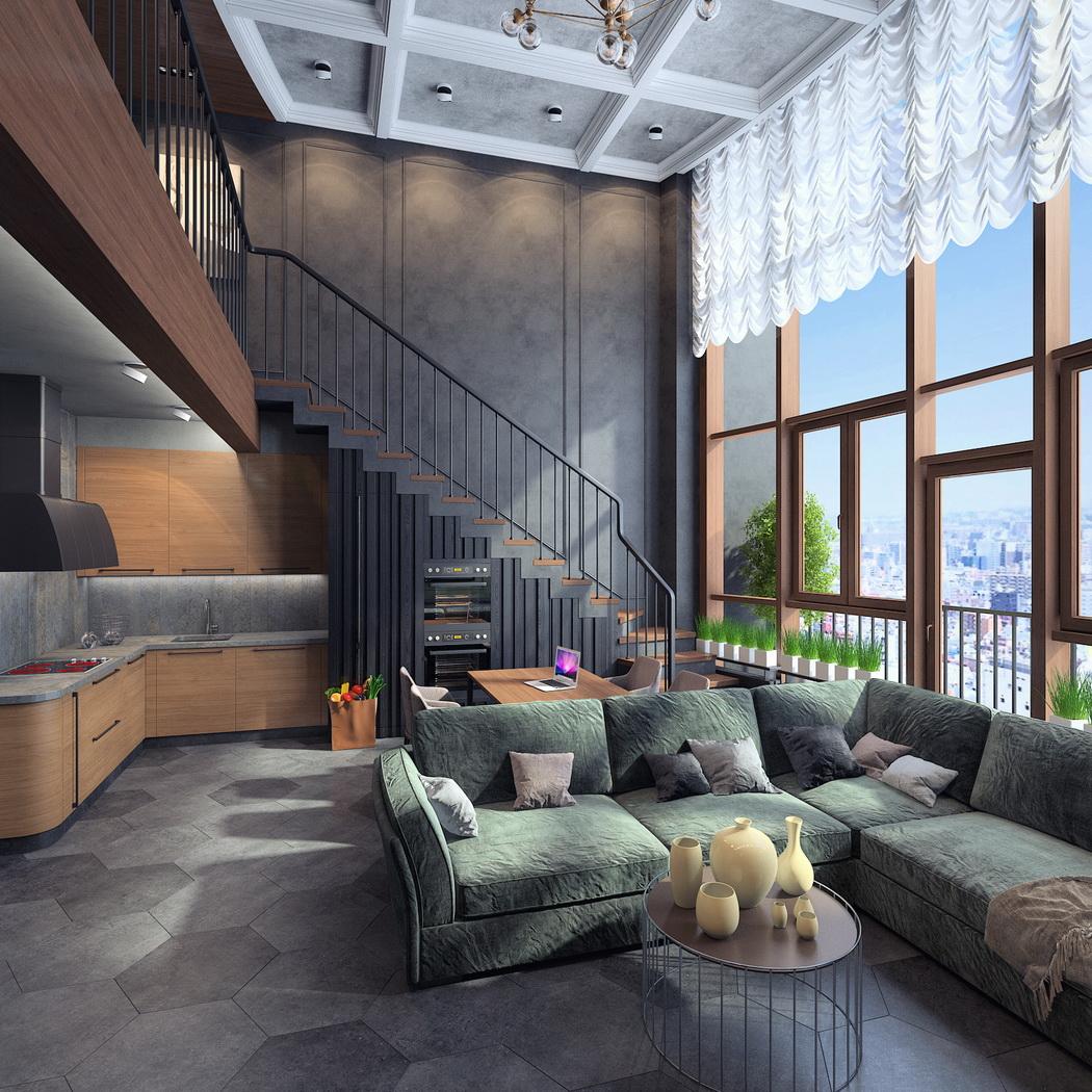Проект двухуровневой квартиры в г.Пушкино для молодого человека в стиле лофт. Вариант 2