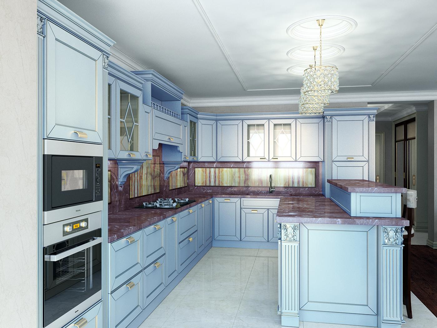 """Проект Кухни - Гостиной на 1 этаже таунхауса в КП """"Суханово Парк"""""""