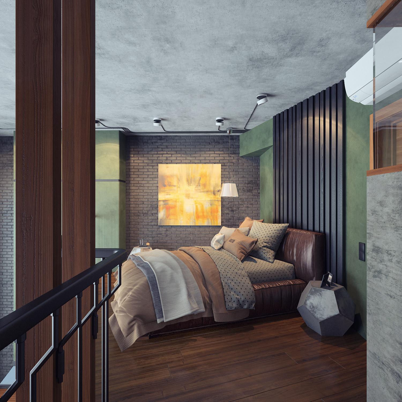 Проект двухуровневой квартиры в г.Пушкино для молодого человека в стиле лофт. Вариант 3
