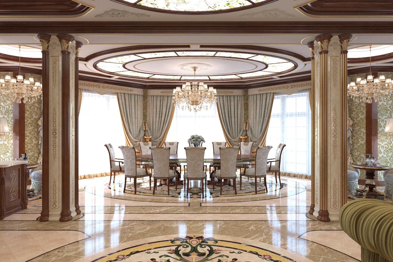Гостиная в классическом стиле в частном доме.