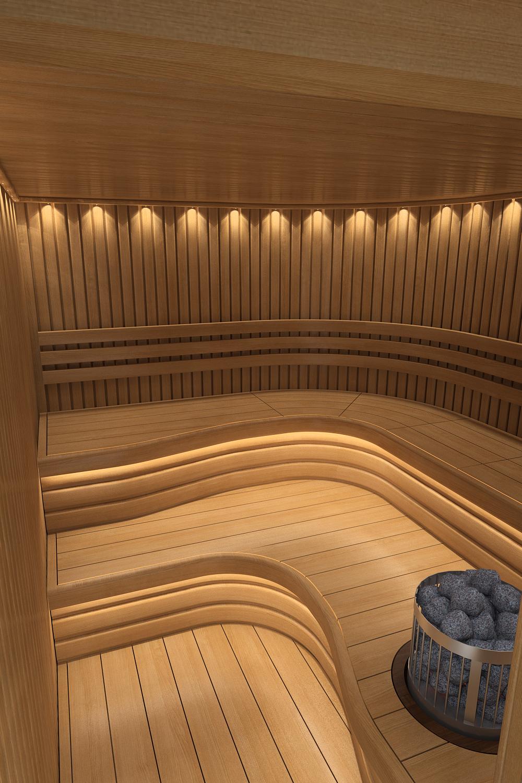 Визуализация сауны в одном из наших проектов.