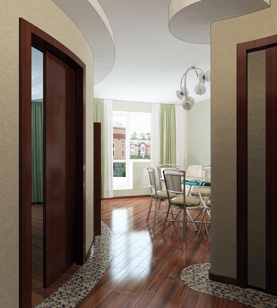 3Д Проект однокомнатной квартиры в Куркино S=50 кв м. Как оно было в проекте.