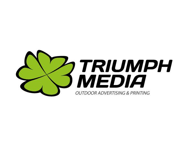 Разработка логотипа  TRIUMPH MEDIA с изображением клевера фото f_5070cc3da701e.jpg