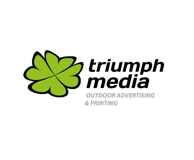 Разработка логотипа  TRIUMPH MEDIA с изображением клевера фото f_5070cc4a42a09.jpg