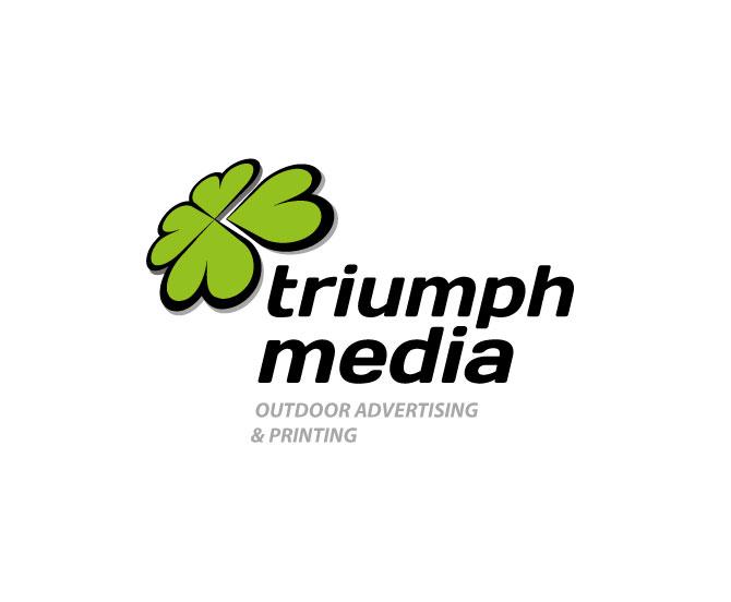 Разработка логотипа  TRIUMPH MEDIA с изображением клевера фото f_5070cc4d2b2bb.jpg