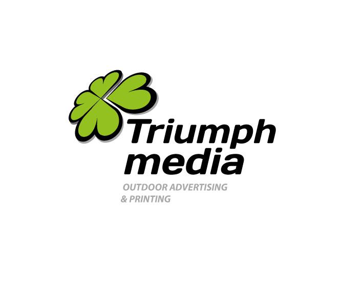Разработка логотипа  TRIUMPH MEDIA с изображением клевера фото f_5070d2dbcb8dd.jpg