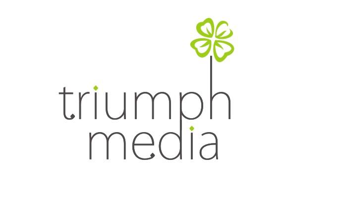 Разработка логотипа  TRIUMPH MEDIA с изображением клевера фото f_506f09e60ca59.jpg
