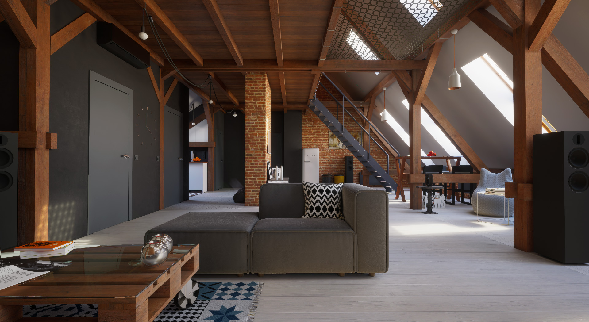 Loft interior with interactive drone (Unreal Engine 4)