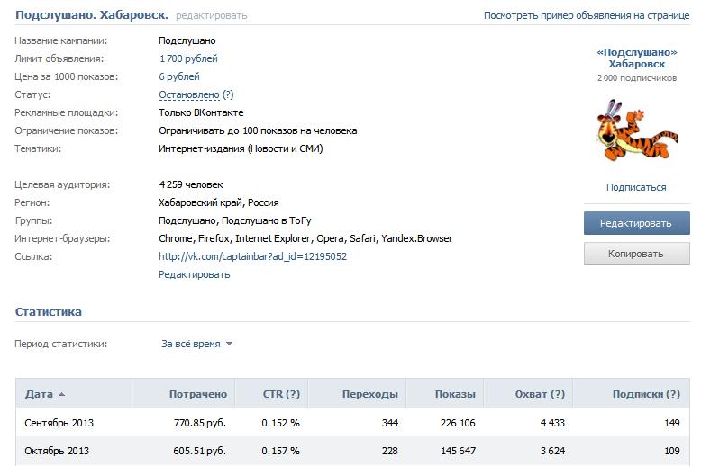 Рекламное объявление Вконтакте. Подслушано Хабаровск.