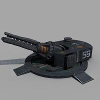 Энерго пушка на корабельном лафете.