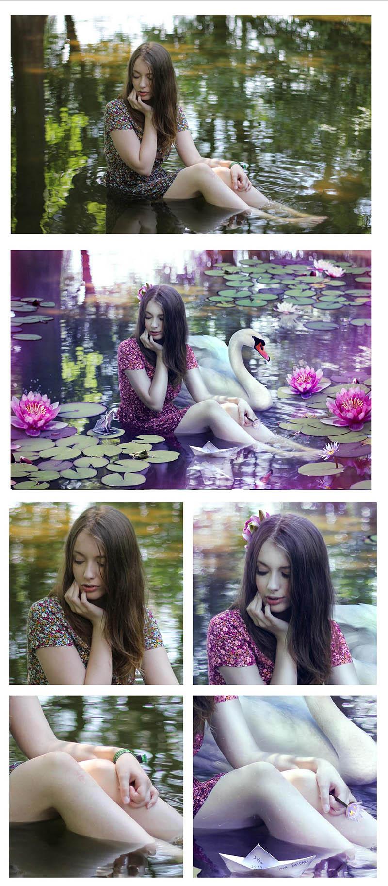 Девушка в пруду - коллаж, худ. ретушь