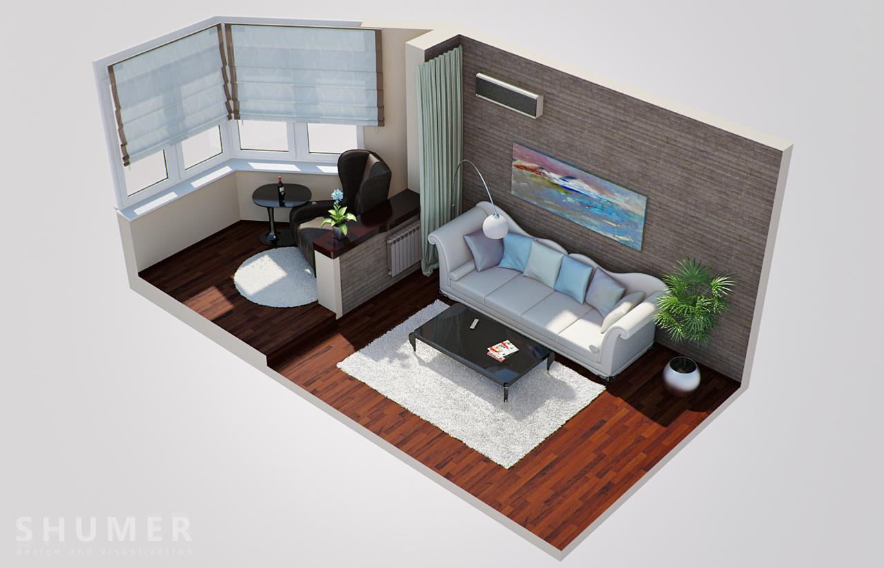 Дизайн балкона и комнаты. В1. План