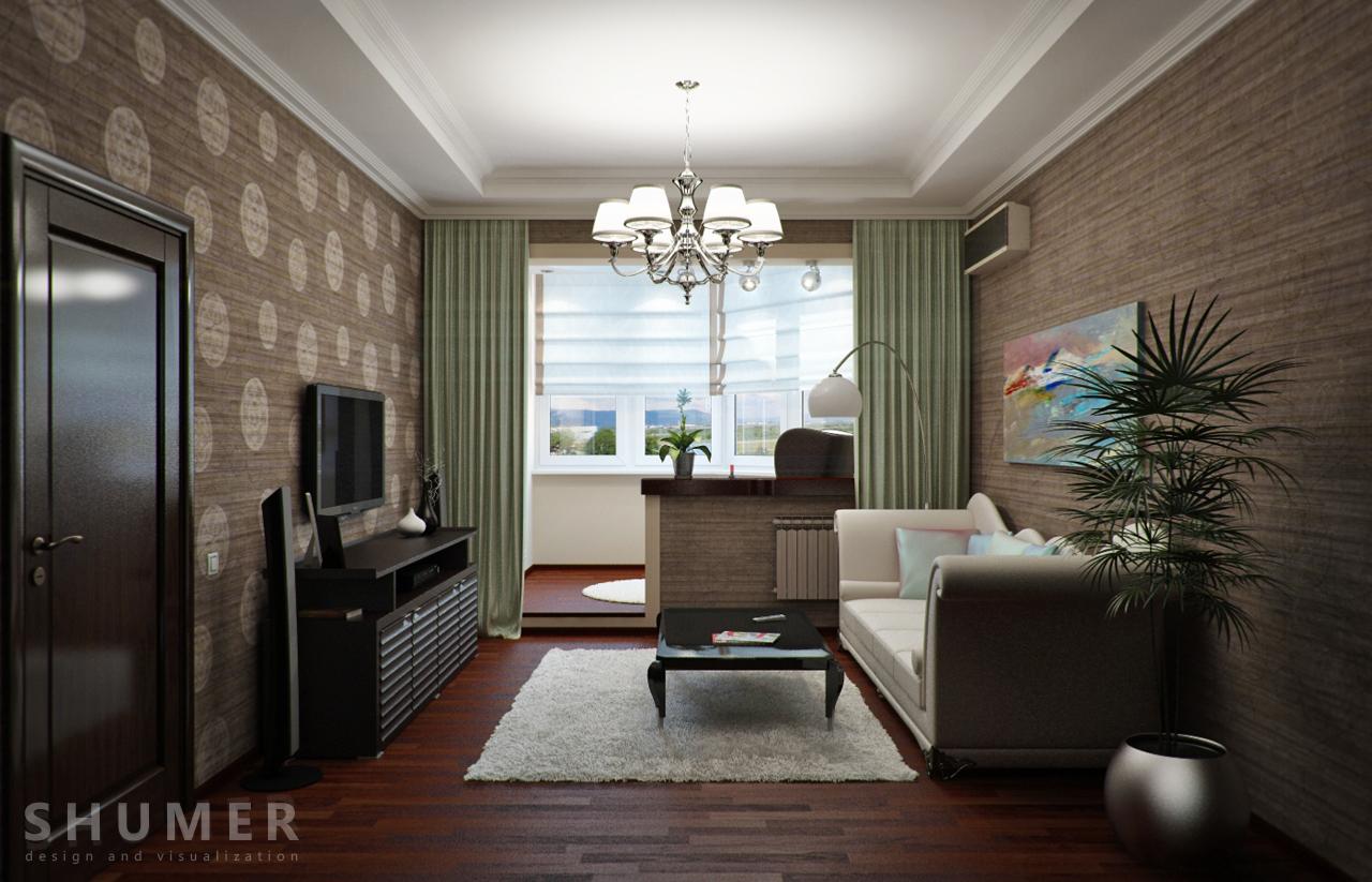 Дизайн балкона и комнаты. В1. Общий