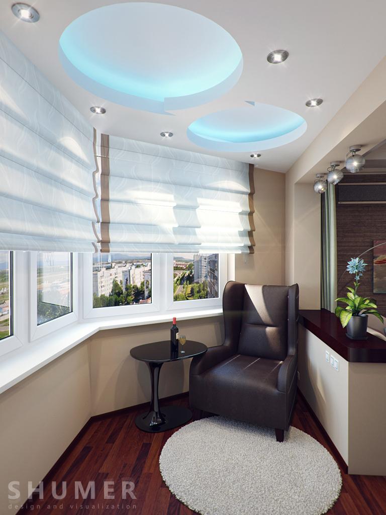 Дизайн балкона и комнаты. В1. Балкон