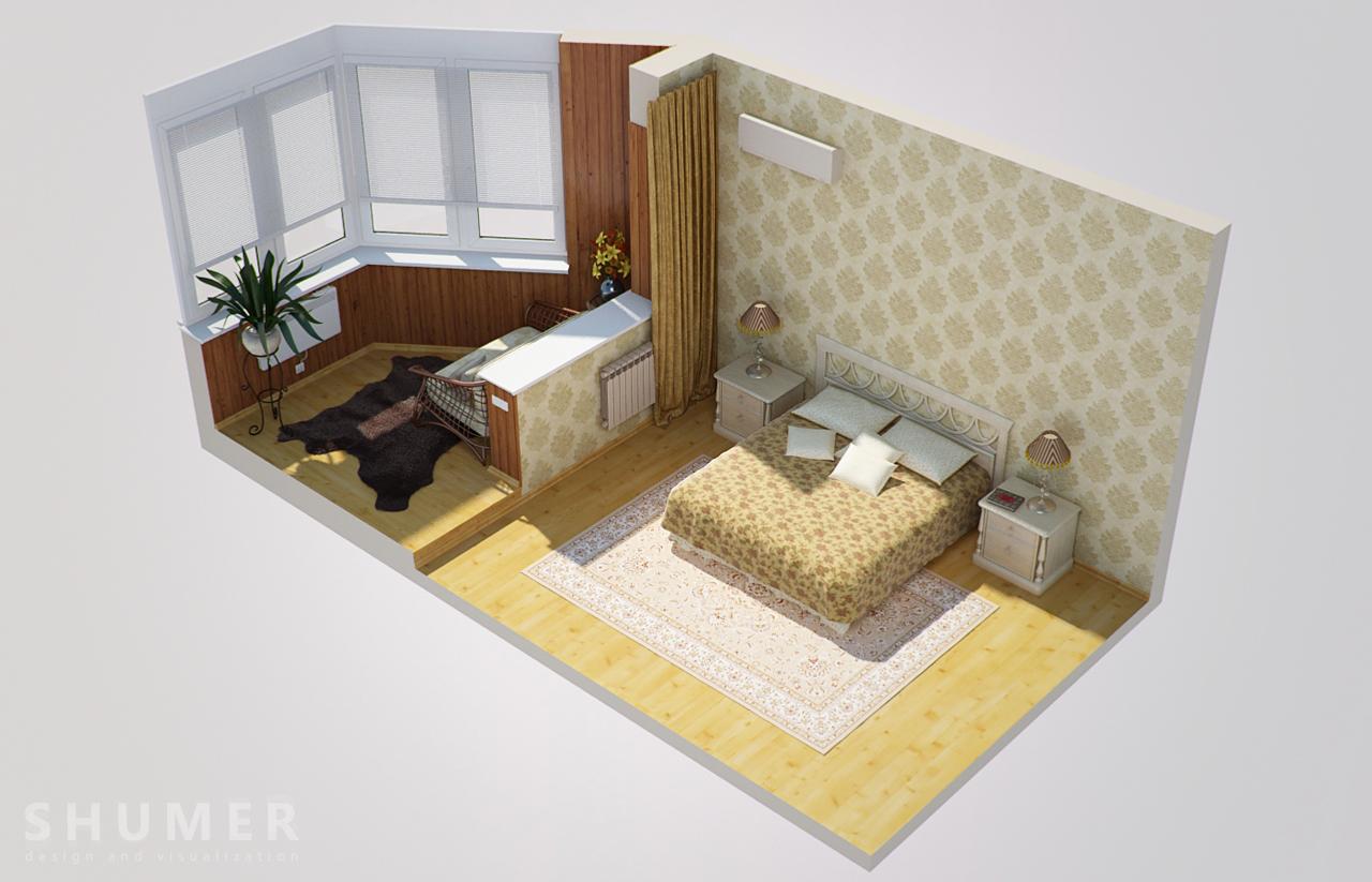 Дизайн балкона и комнаты. В2. План
