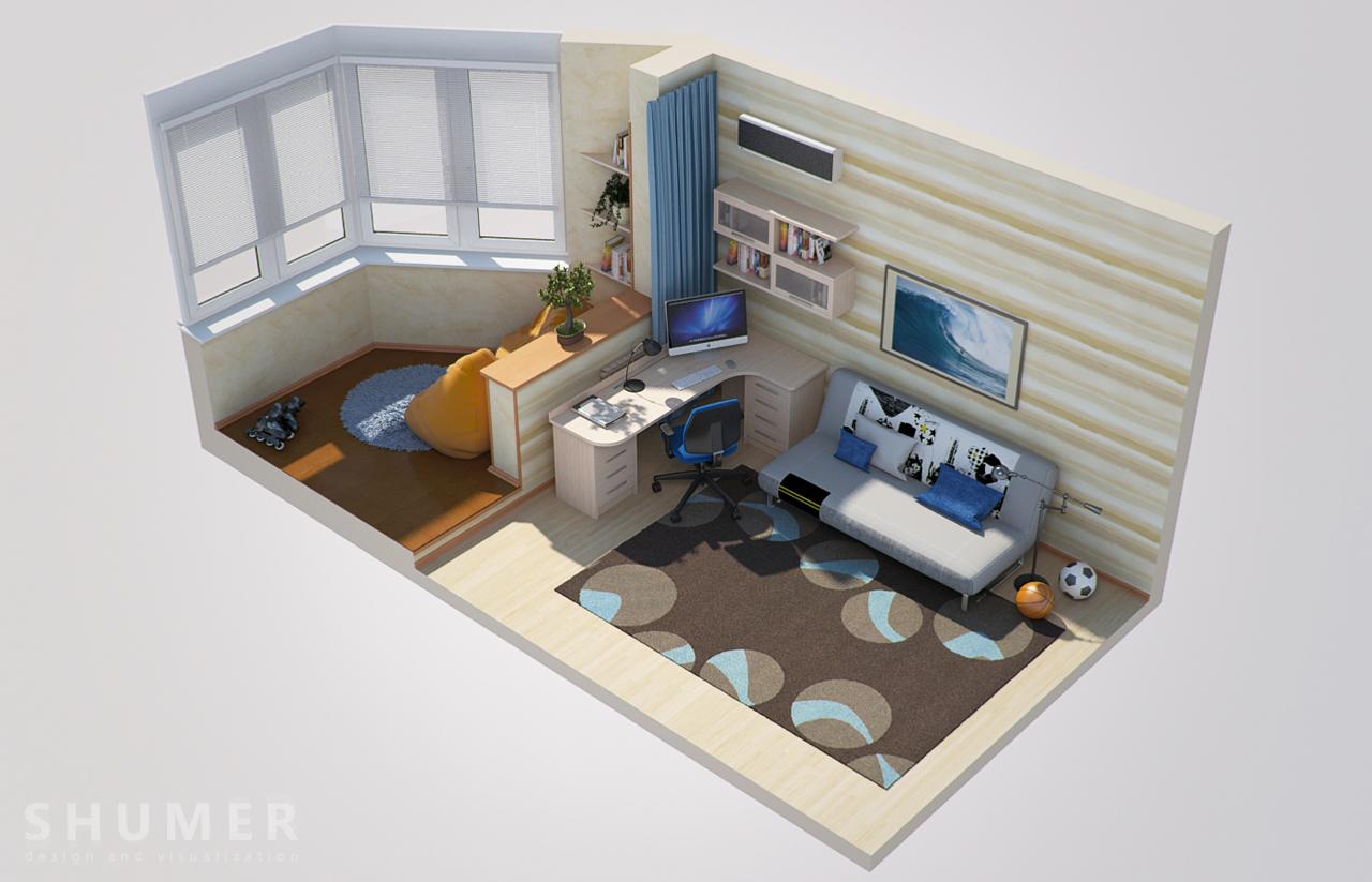 Дизайн балкона и комнаты. В3. План