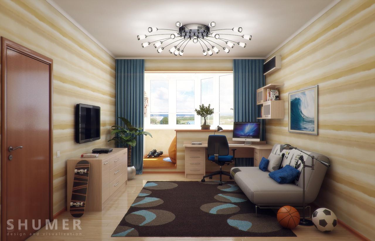Дизайн балкона и комнаты. В3. Общий
