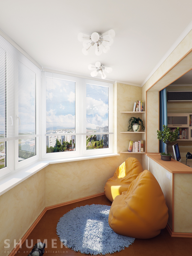Дизайн балкона и комнаты. В3. Балкон