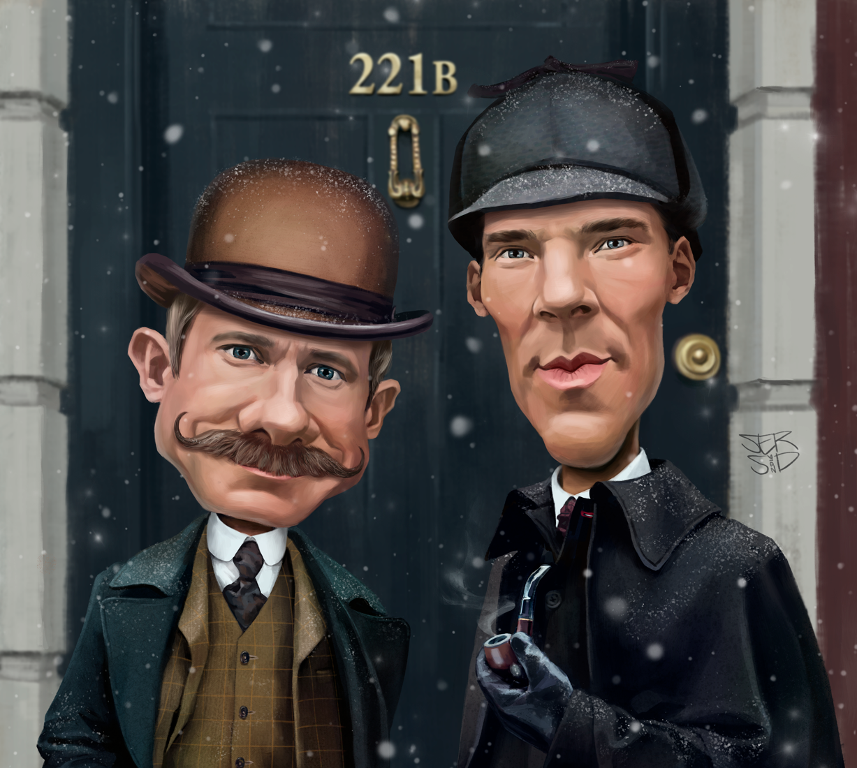 Шерлок Холмс и доктор Ватсон. Шарж