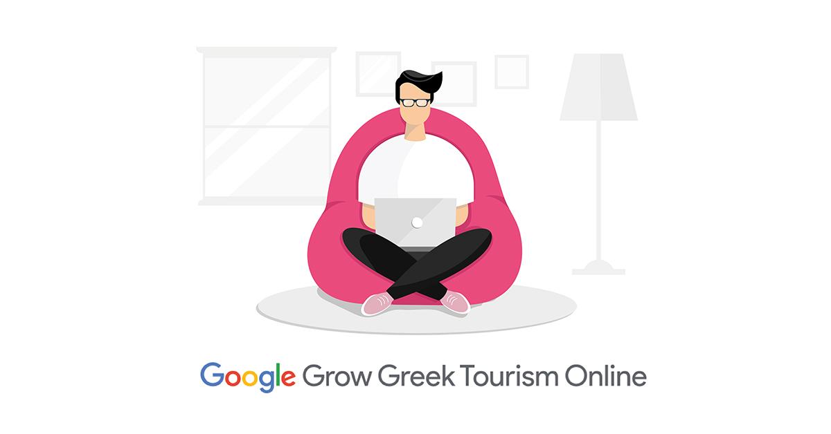 Flat illustration GOOGLE GROW GREEK TOURISM ONLINE