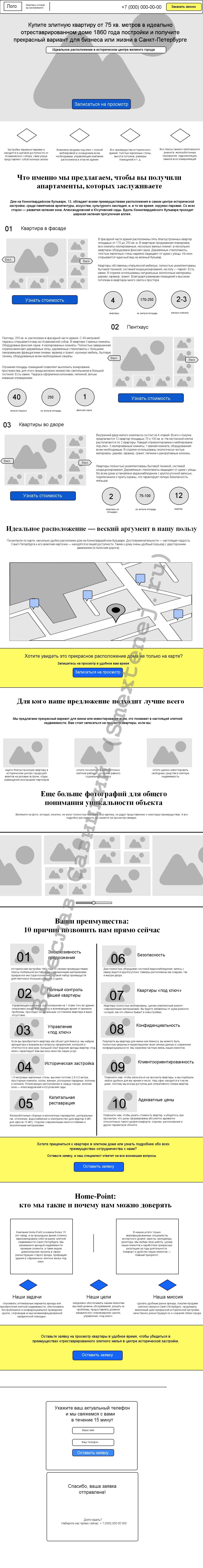 Текст для лендинга + прототип в подарок: элитные квартиры в СПб