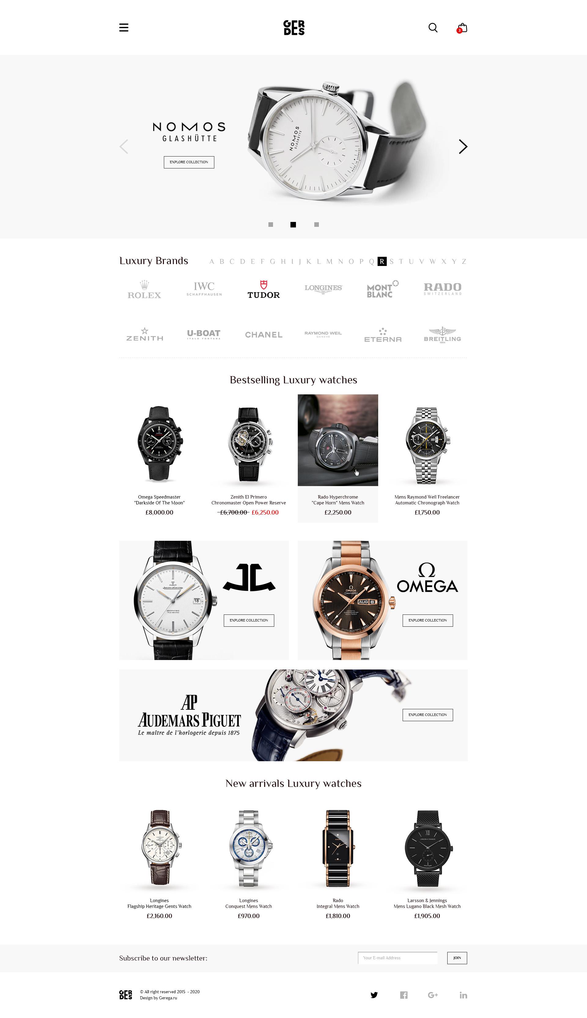 Дизайн, проектирование, UX/UI магазина элитных часов