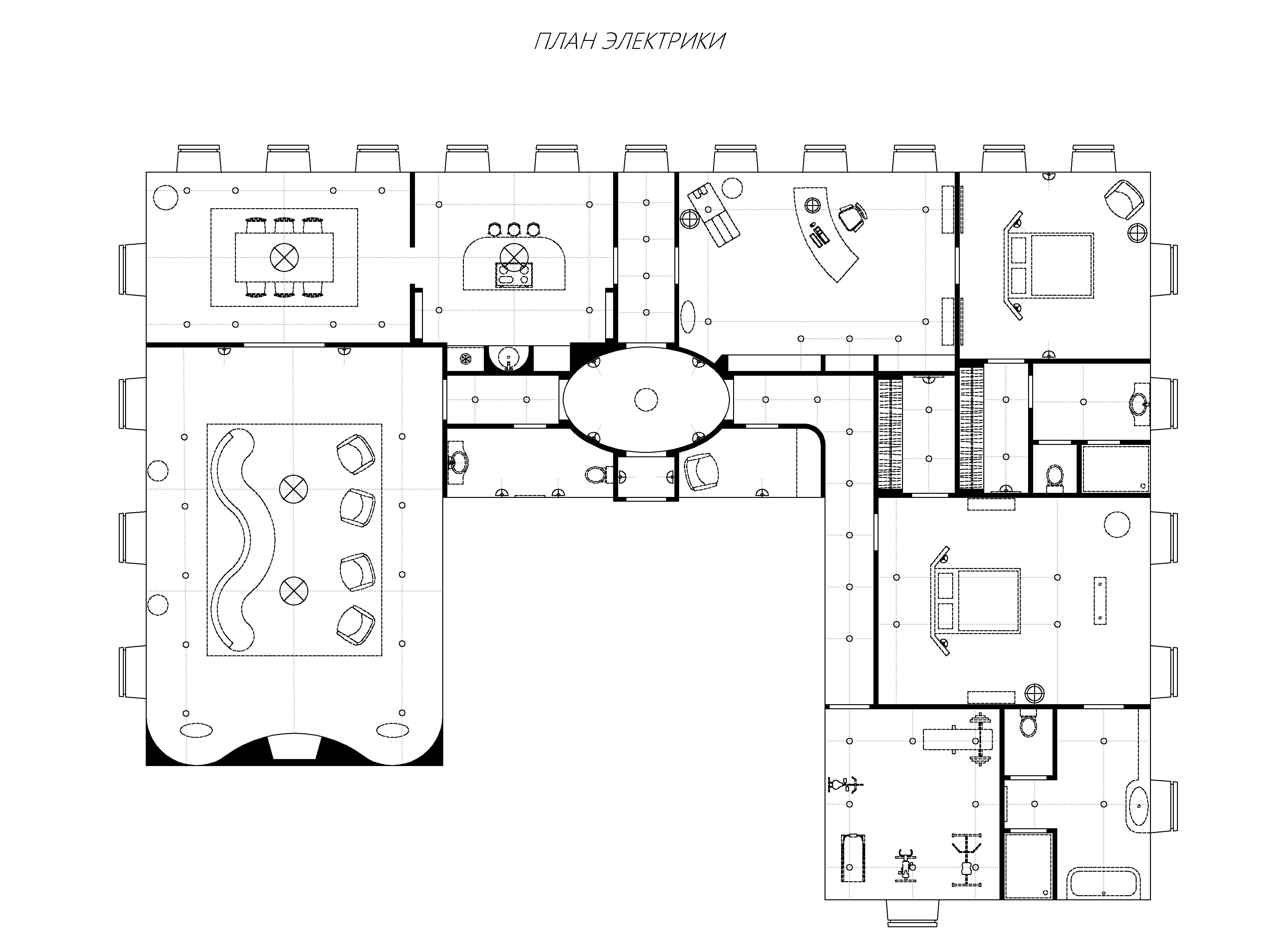 Чертеж по обмерам заказчика – план мебели и освещения квартира 325 кв.м.
