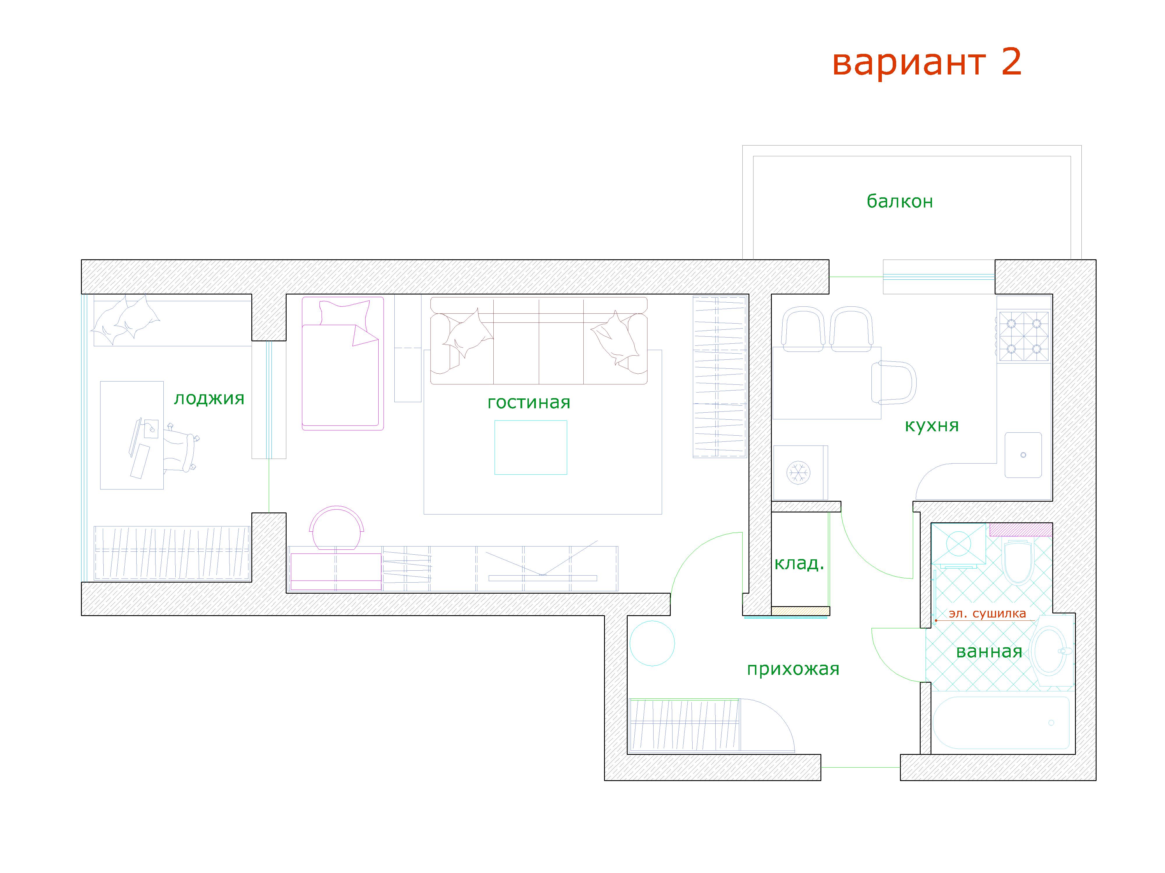 Планировка – Квартиры 46 кв. м. с расстановкой мебели