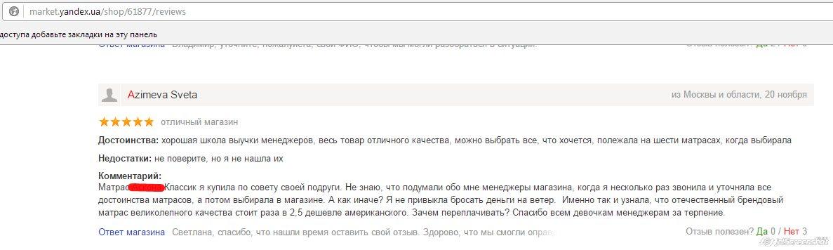 поднятие рейтинга магазину Матрасов на Яндекс маркете