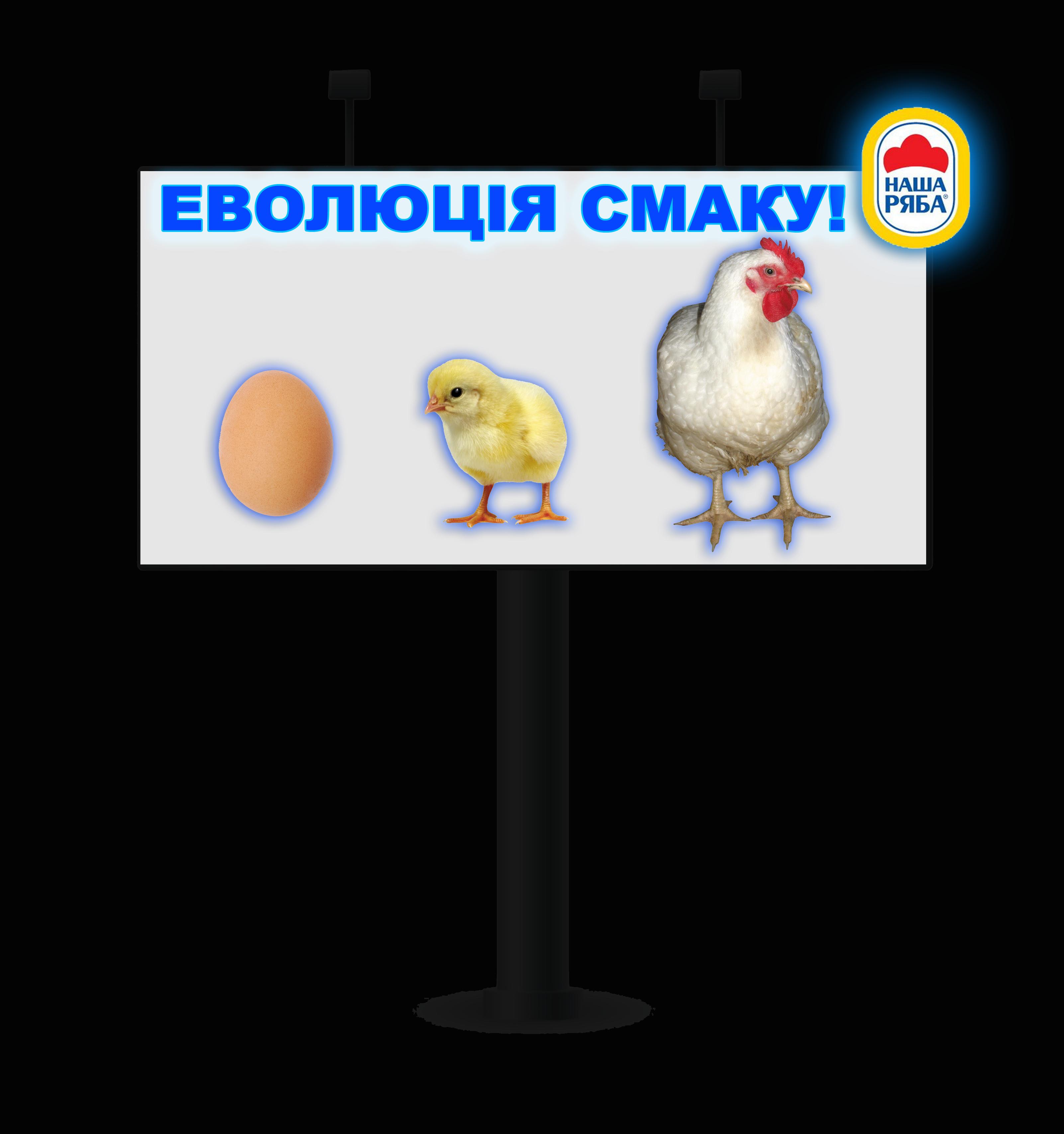 """Дизайн биллборда с экстендером для ТМ """"Наша Ряба"""" (ночь)"""