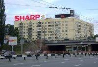 Дизайн накрышной рекламной конструкции для SHARP