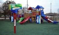 Визуализация брендирования детской площадки для HUGGIES