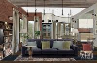 Эскиз интерьера гостиной дома «Вилла Виктория» компании ARCHON+