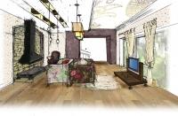 Эскиз гостиной с большим окном 2