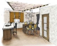 Эскиз столовой-кухни 1