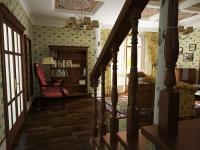 гостиная с лестницей и камином 3