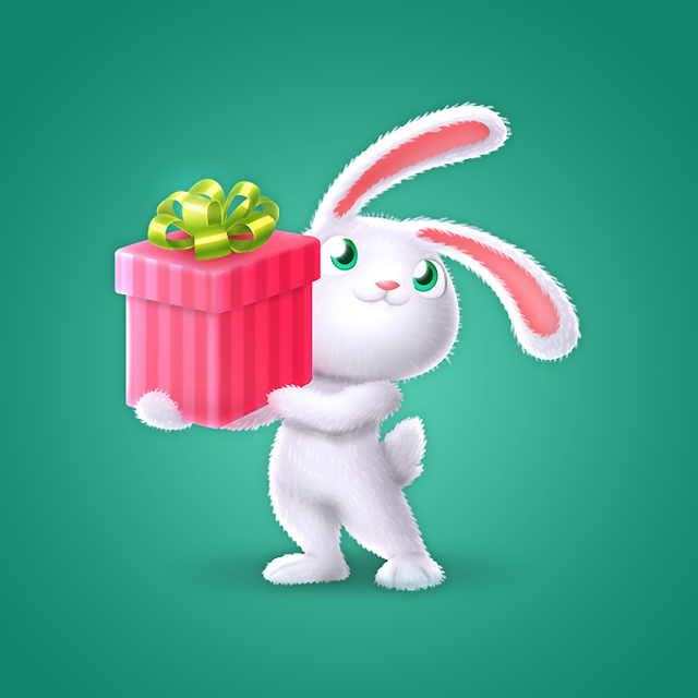 Кролик с подарком - Подарок для Ок.ру