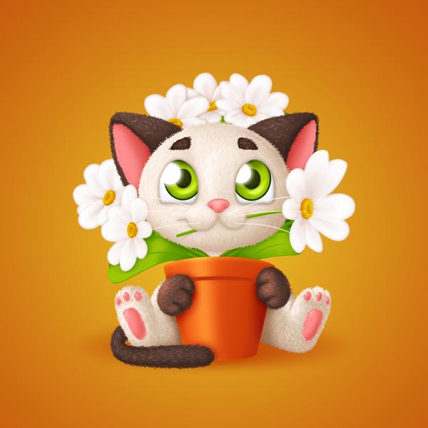 Котёнок с цветочным горшком (Стикер) (Photoshop)