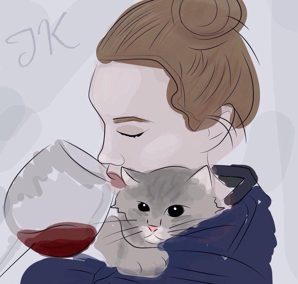 вино и кошка