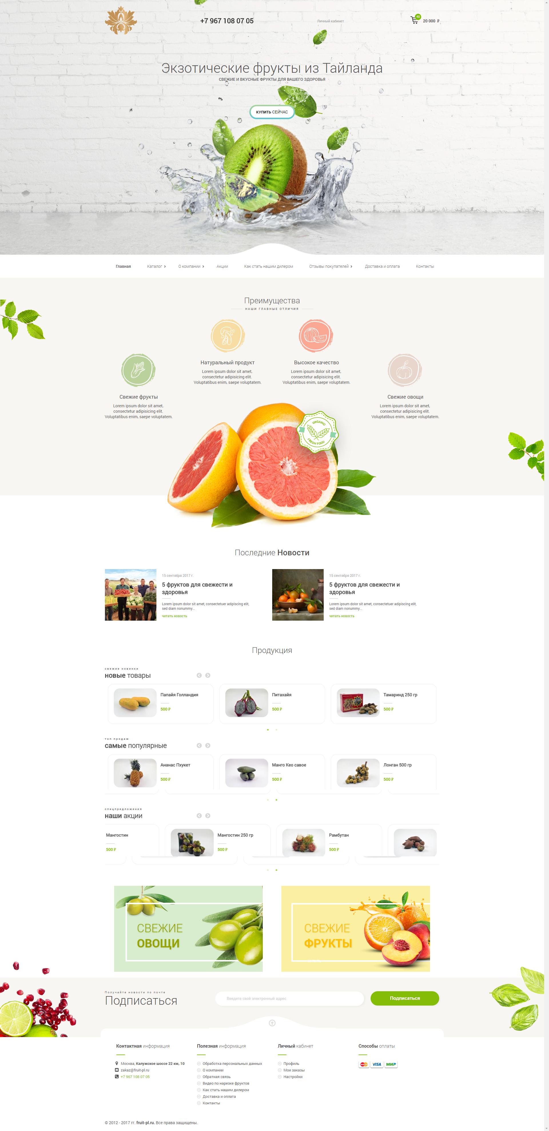 Магазин экзотических фруктов из Тайланда (Дизайн+Вертка+Внедрение CMS)