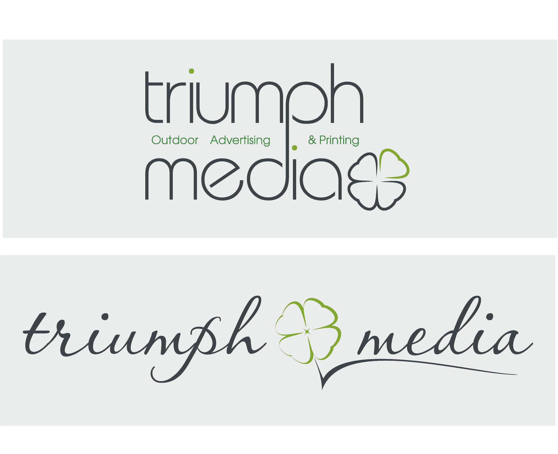 Разработка логотипа  TRIUMPH MEDIA с изображением клевера фото f_50707a9156c2e.jpg