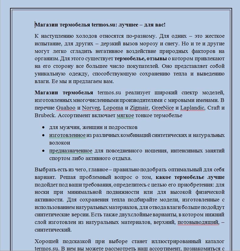 Магазин термобелья Termos.su (текст для главной)