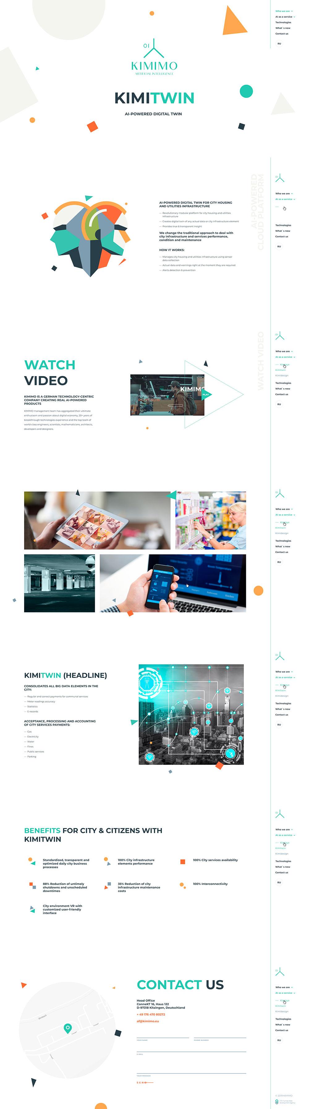 Kimimo - Корпоративный сайт (Исскуственный интеллект)
